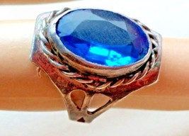 ANTIQUE ART DECO STERLING SILVER FACETED BLUE STONE RING s 4.5 - $29.69