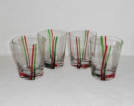 Block YULETIDE Old Fashioned Glasses Tumblers Christmas Red Green Stripe... - $28.14