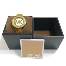 Michael Kors MK Womens 39mm Gold Tone Round Stainless Steel Watch Chain Band - $104.30