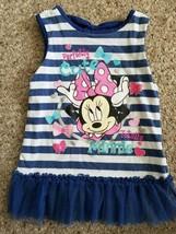 DISNEY Navy Striped MINNIE MOUSE Tutu Tunic Dress Girls Size 4  - $4.66