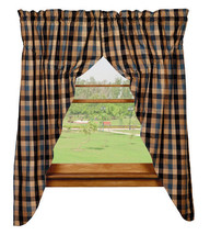 Olivia's Heartland country primitive River Shale plaid PRAIRIE Curtains 72x63 - $62.95