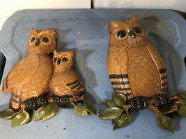 Set of 2 Vintage Home Interior Homco Owls 7403  Wall Plaque Hanging Hard... - $18.70
