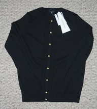 Lands End  Women's LS Supima Cable Tipped Crew Cardigan Sweater Black New - $44.99