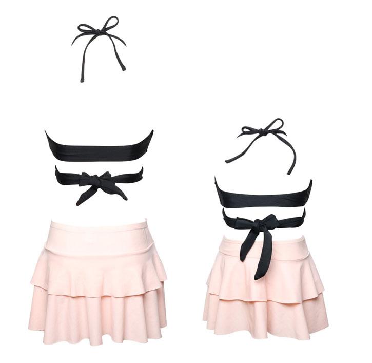 Family Matching Swimwear Mother Girl Pretty Flounce Skirt Bottom Bikini Set