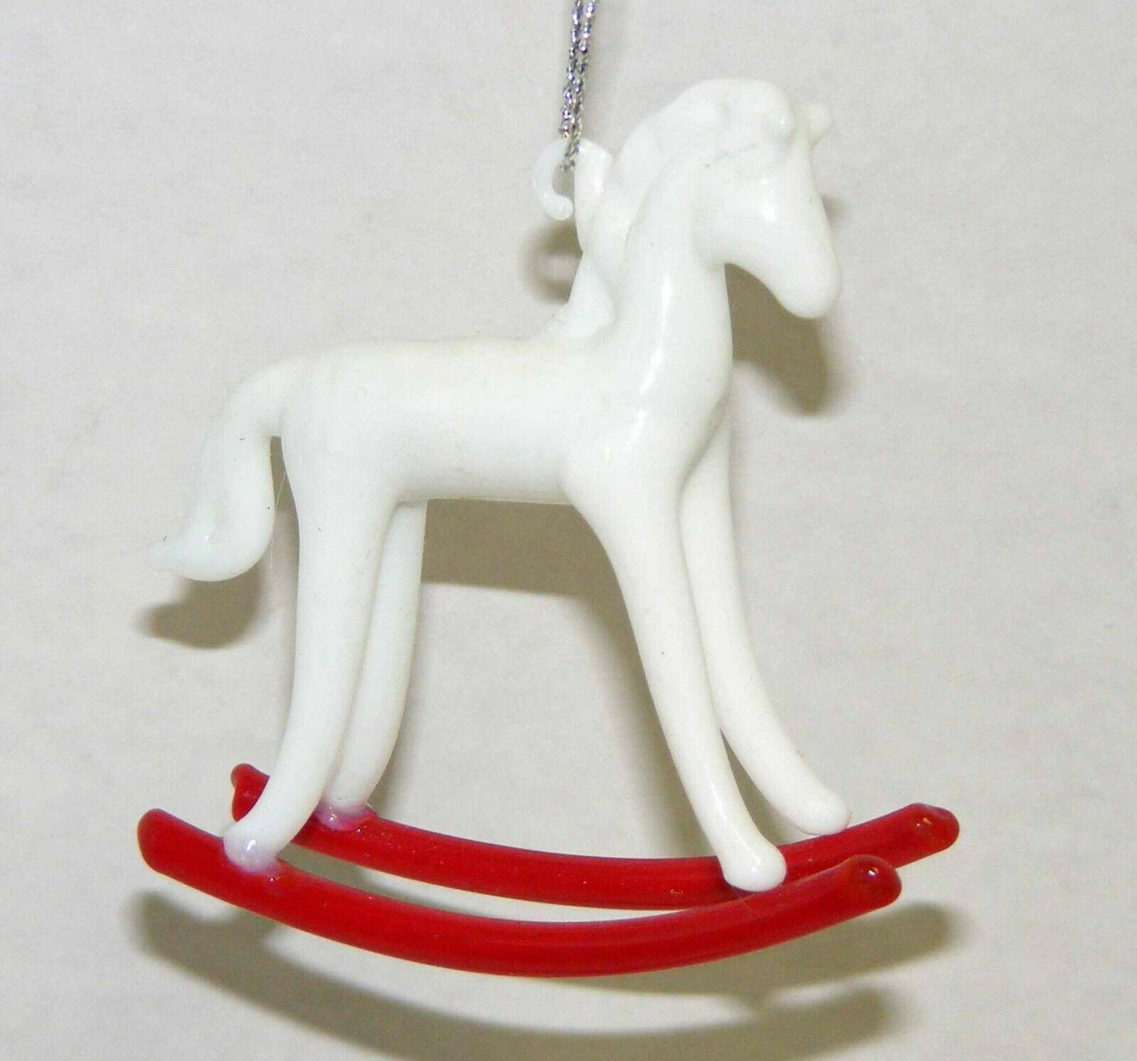 Primary image for Vintage 1980's Glass Rocking Horse Christmas Ornament