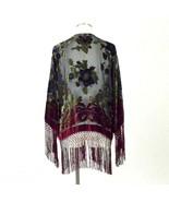 Vtg 90s Burnout Velvet Shirt Jacket Sheer Fringe Open Front Blouse Women... - $38.60