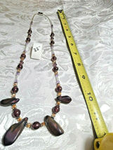 """Purple Amethyst Glass and Volcanic Rock Beaded Necklace 22""""           (#12) image 4"""