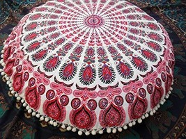 Traditional Jaipur Round Mandala Floor Cushions with Filler, Decorative ... - $52.46