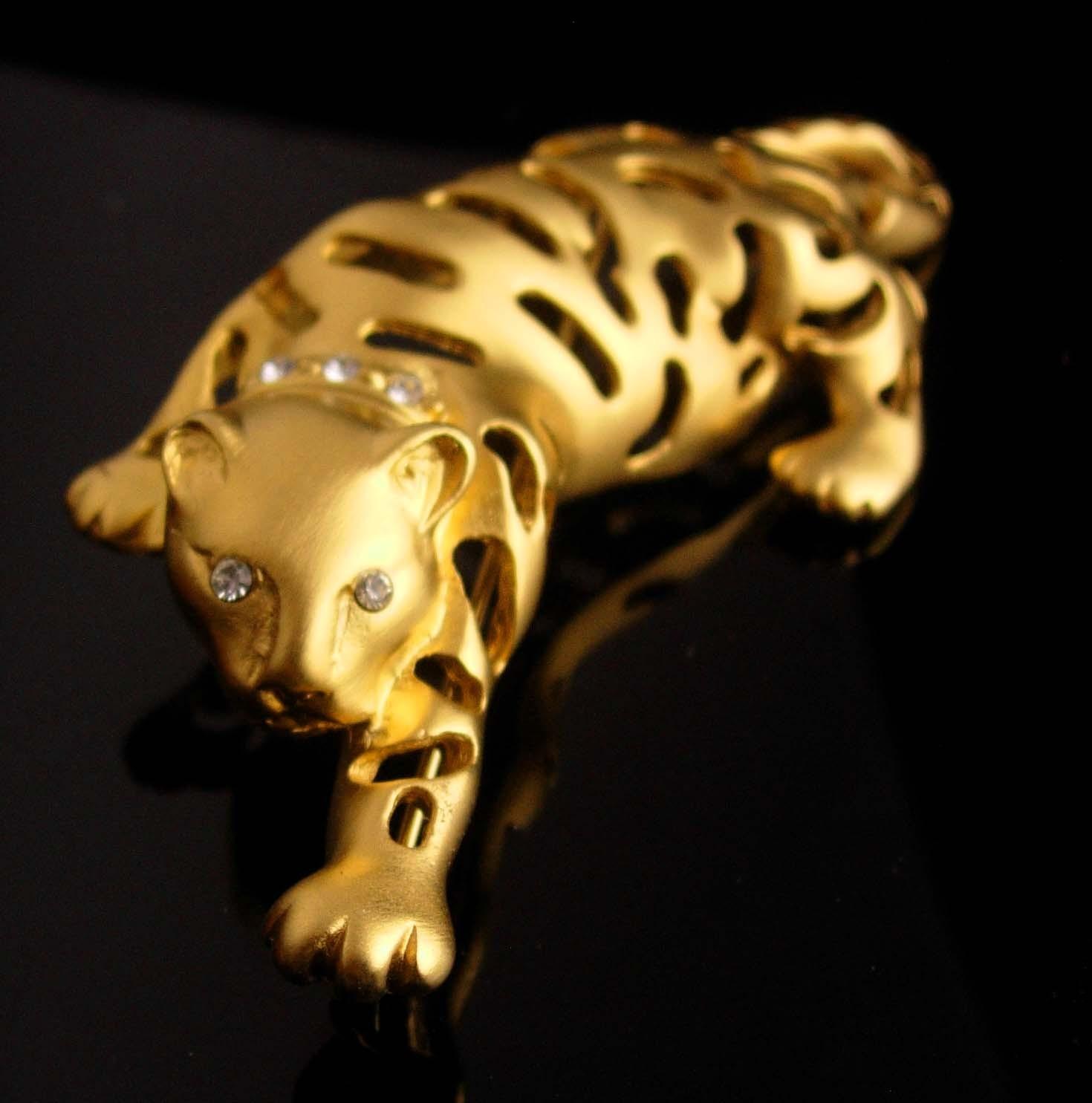 BIG Cat brooch / gold Jaguar / leopard pin / tiger rhinestone lapel pin / womens