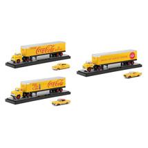 Auto Haulers Coca-Cola Release Set of 3 Trucks Yellow 1/64 Diecast Model... - $85.06