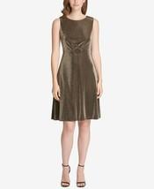 Tommy Hilfiger Metallic Stretch a-Line Dress  Gold Size 16 - $59.99