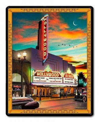 "Hollywood Movie Theater by Larry Grossman 12"" x 15"" Metal Sign"
