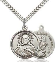 Scapular Silver Filled  Medal  on a 24 inch Light Rhodium Heavy Curb Chain