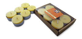 6 Natural Honey Scented Beeswax Tea Light Candles, Cotton Wick, Aluminum Cup - £5.64 GBP