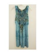 One World Womens Small Sublimation Dress Blue Green Paisley Sleeveless B350 - $16.99