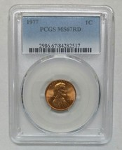 1977 Lincoln Penny Cent Coin PCGS MS67RD Red - Rare In This Grade! Lot# SR 1260