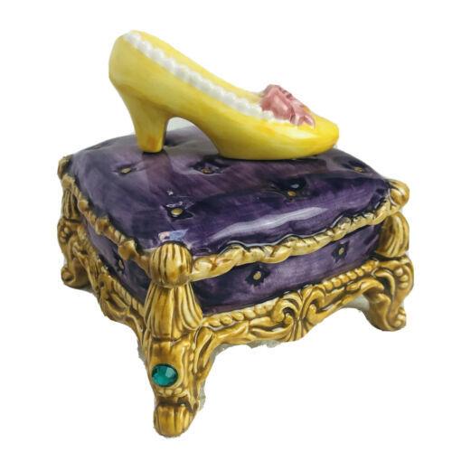"Fitz And Floyd Cinderella Golden Slipper Covered Box 5"" Dresser Trinket Box - $36.14"