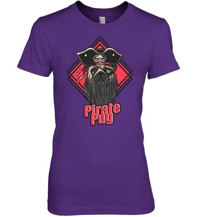 Funny Pirate Pug Dog Halloween Tshirt Men Women Gift