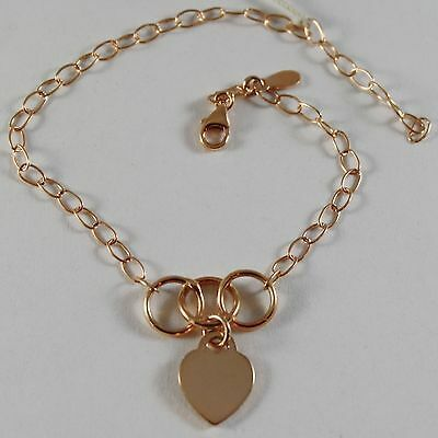 18K ROSE PINK GOLD BRACELET 7.10 INCHES WITH HEART AND CIRCLES, MADE IN ITALY