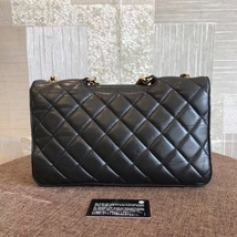 100% AUTH CHANEL BLACK PERFECT EDGE LARGE QUILTED LAMBSKIN 2-WAY FLAP BAG GHW image 2
