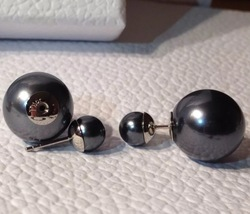 Auth Christian Dior Tribal Earrings Black Dark Gray Double Pearl image 2