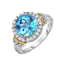 Round Blue Topaz and White Sapphire Ring in 18k Yellow Gold and Sterling... - $277.75