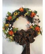 "16"" LED Lit Halloween Fall Autumn Spooky Skull Wreath Door Decor Hanging - $45.14"
