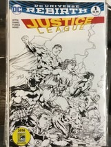 Justice League #1 DC Comics 2016 DC Universe Rebirth SDCC B/W - $29.39