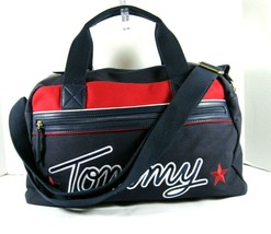 Tommy Hilfiger $128 Weekender Duffel Bag Large Navy Red Zip Top Embroide... - $38.02