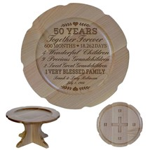 Cake Stand Wedding Pedestal Wooden Round 50th Anniversary - $74.99