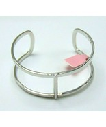 Women's Fashion Hand Made Open Cuff Rhodium Plated Bangle - $14.75