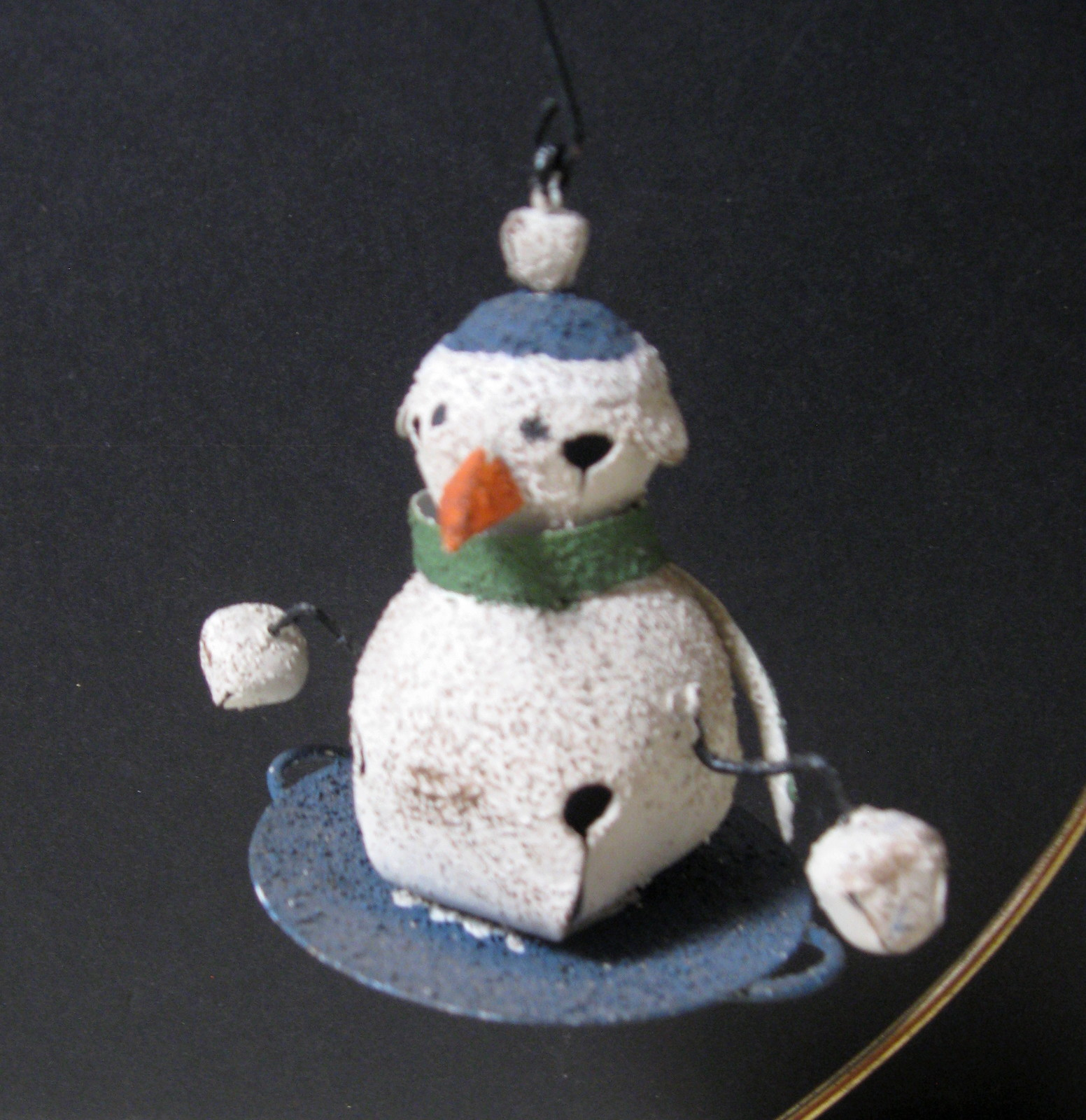 Metal Snowman Jingle Bell Ornament with Metal Hanger - Two (2) Available