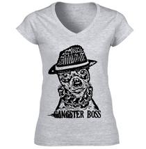 Miniature Pinscher Gangster Boss P - New Cotton Grey Lady Tshirt - $25.28