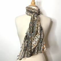 "Mudd Abstract Pattern Sheer Scarf with Tassels 100% Polyester 20"" X 69"" - $19.80"