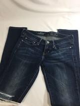 Levis Women Slight Curve Dark Was Blue Denim Jeans. Distress Size 24x32 - $14.01