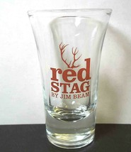 Red Stag by Jim Beam flared shot glass Antlers red on clear - $6.66