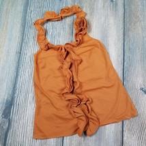 THE LIMITED sz XS women persimmon ruffle neckline halter top blouse EUC ... - $7.92