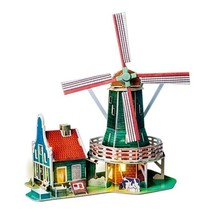 Wooden Dutch Windmill Doll House Miniature With Led Light New Diy Building Toys - $49.99