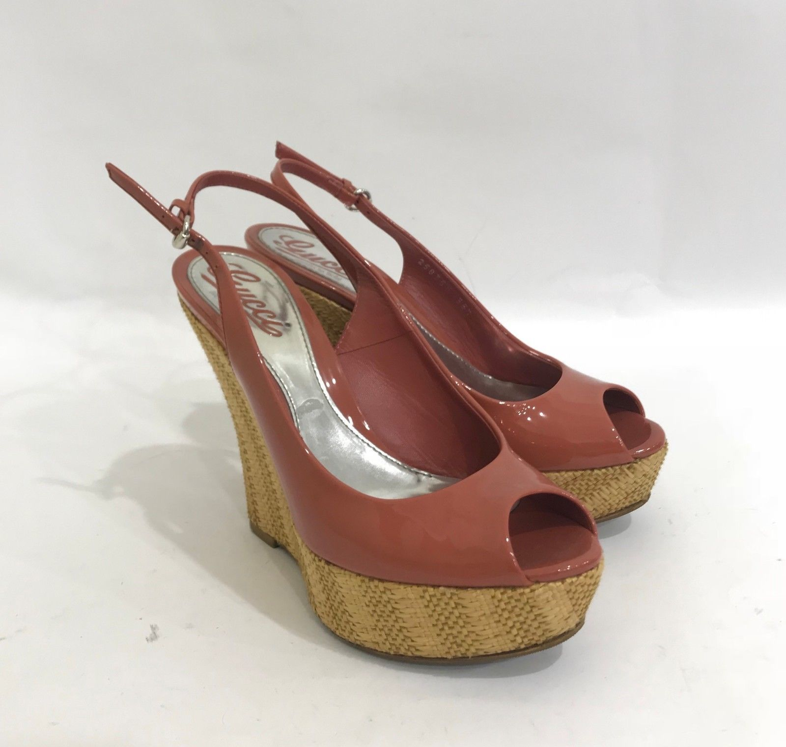 529c510bb GUCCI Brown Patent Leather High Wedge Heel and 50 similar items