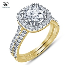 Engagement Bridal Ring Set 14k Yellow Gold Plated 925 Silver Round Cut White CZ - $89.99