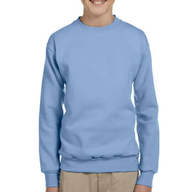 Hanes Boy's Youth Comfort Blend Ecosmart Light Blue Crewneck Sweatshirt - YL