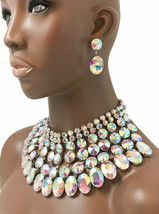 Chunky Cleopatra Necklace Earrings Jewelry Set Iridescent AB Crystals/Rh... - $59.80