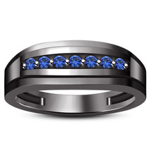 14k Black Gold Finish 925 Sterling Silver Blue Sapphire Mens Anniversary Ring - £68.47 GBP