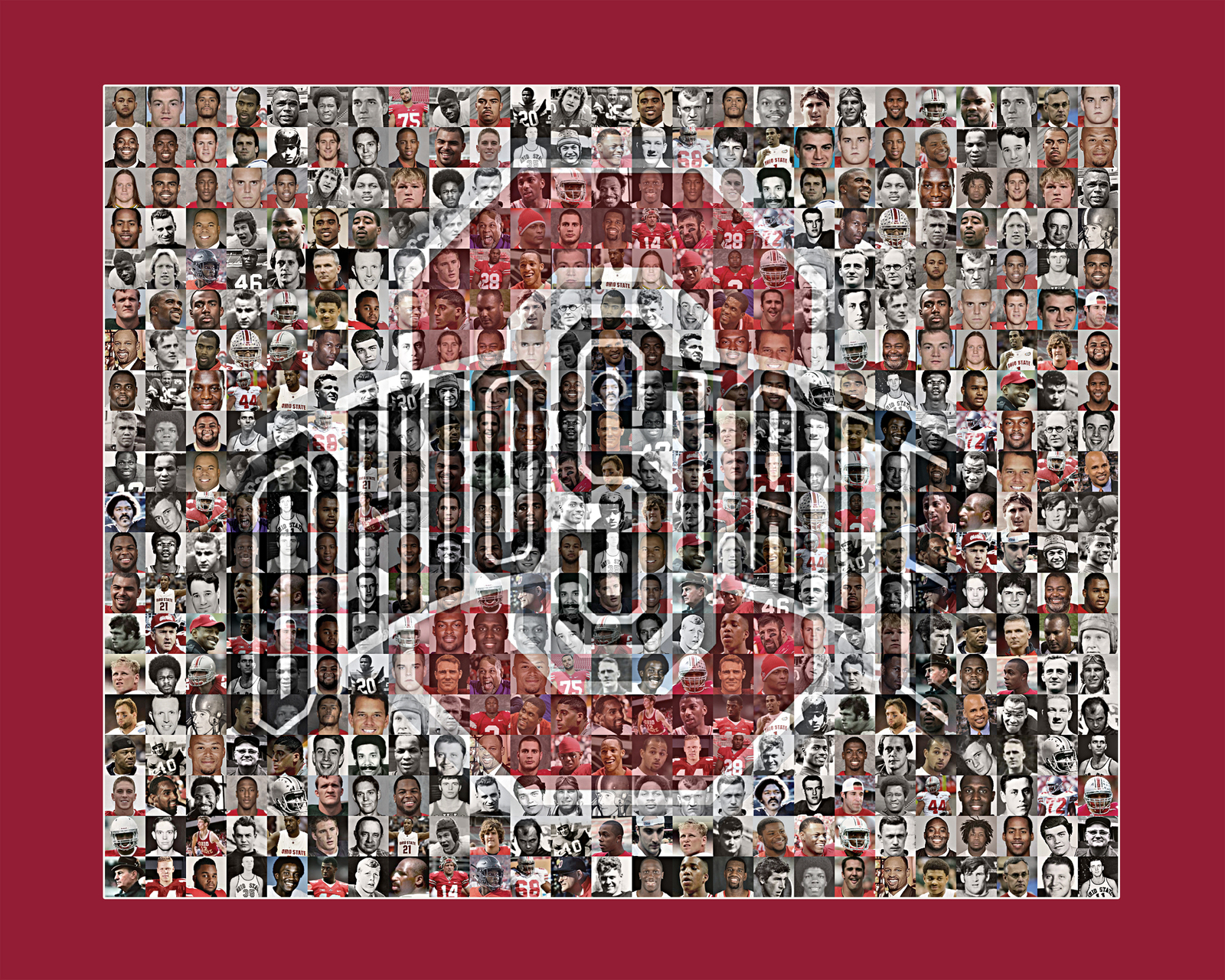 Ohio State University Mosaic Print Art Created Using Past and Present Player Pho