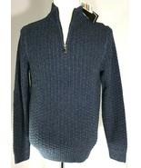 Tasso Elba Sweater Mens 1/4 Zip Pullover Blue Long Sleeve Size S - $49.45