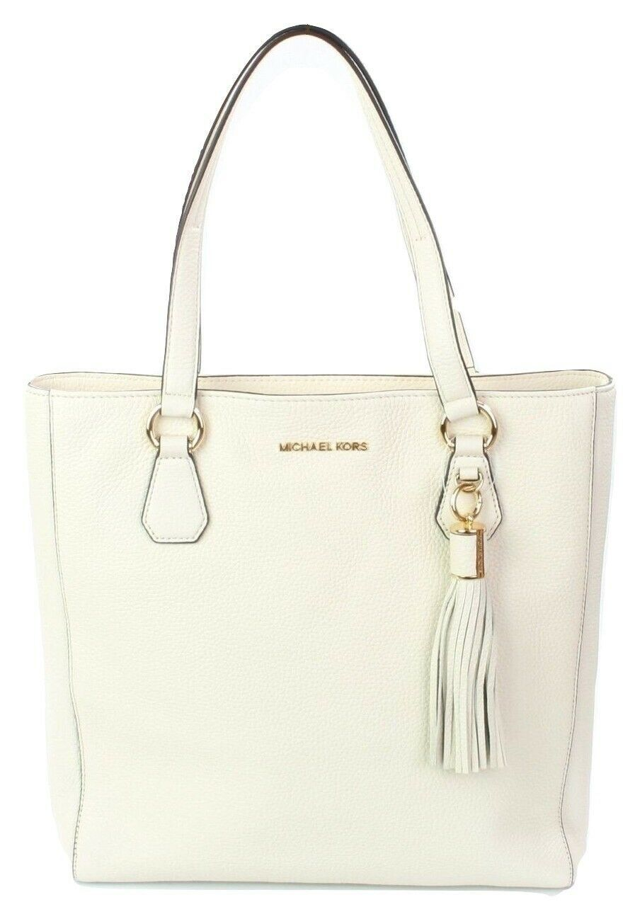 Primary image for Michael Kors Shopper Tote Bag Ecru Cream Ivory Leather Large Bedford Handbag