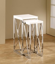 "2 Piece Chrome Nesting Side Table Set with Gloss White Top 29"" Tall - $118.78"