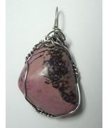 Wire Wrapped Rhodonite Pendant  .925 Sterling Silver - Jemel  - $34.95