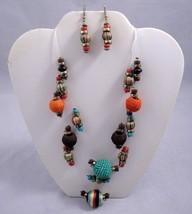 "Silk Wrapped Bead Necklace 16"" Choker Princess Multi-Strand with Dangle ... - $3.95"