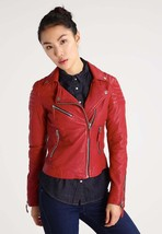 New Women's Leather Jacket Slim Fit Biker Style Moto Real Leather Jacket - $109.99